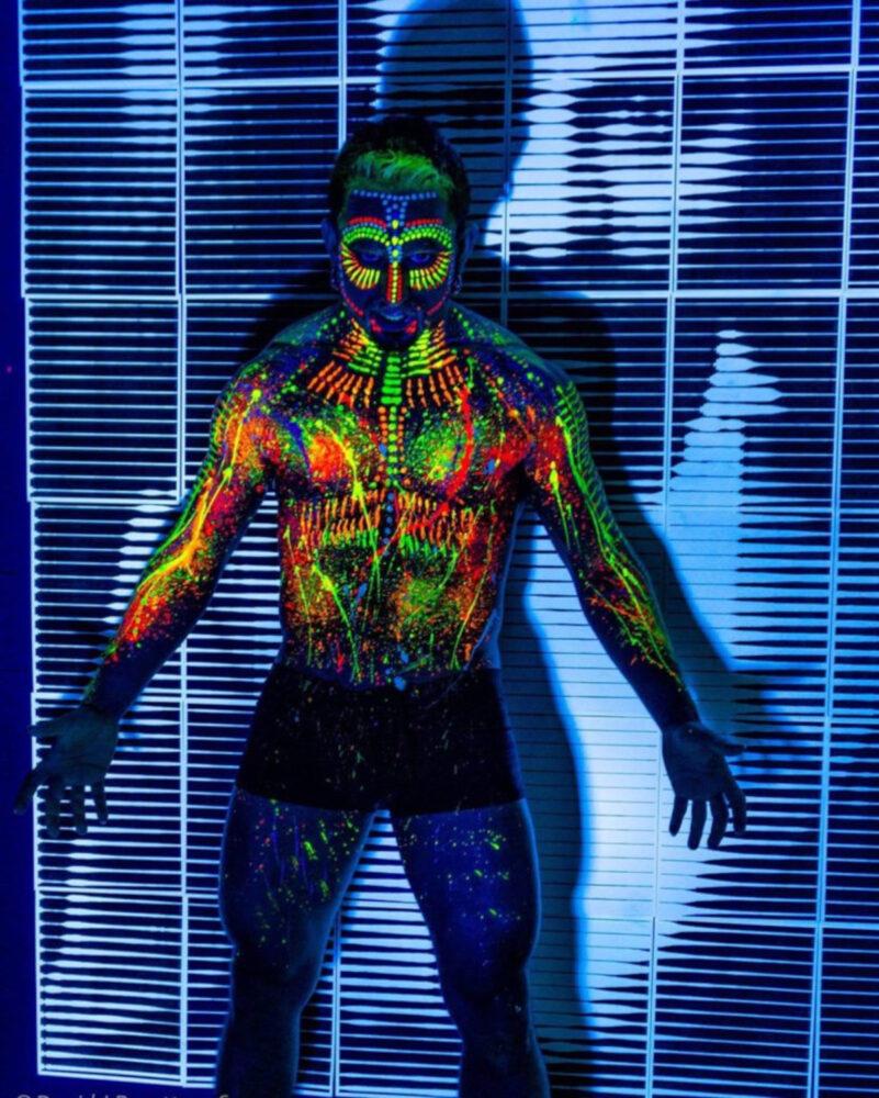 Male Full Body Black Light Painting