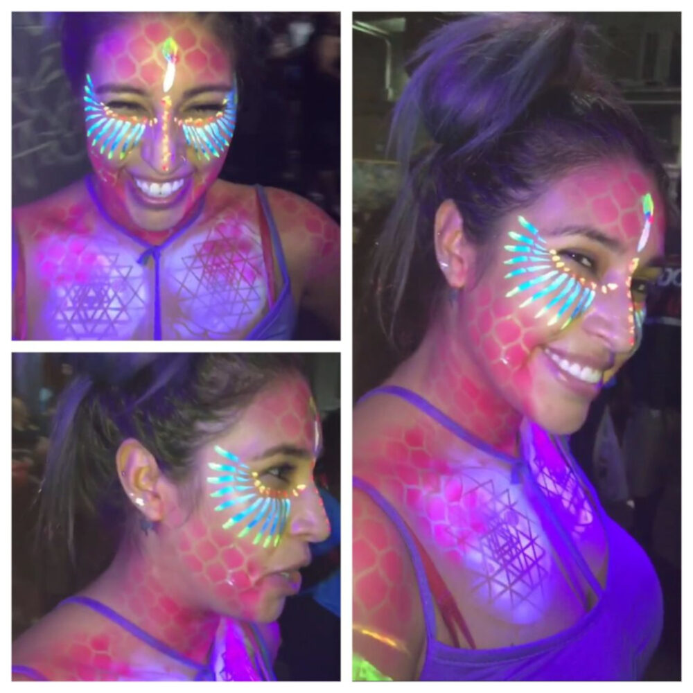 Face paint that extends to the torso