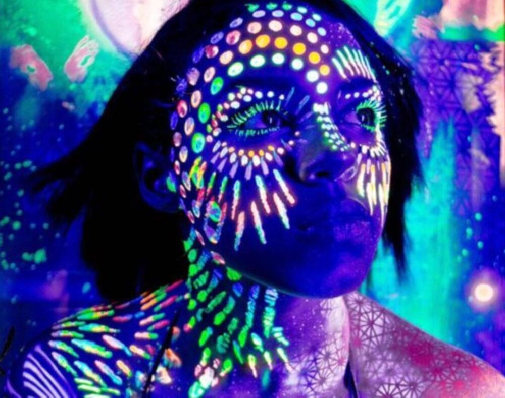 Artistic Black Light Face Painting